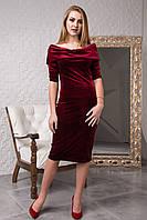 Стильное велюровое платье цвета бордо