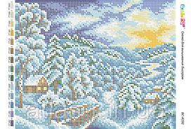 """А4 """"Зимний пейзаж"""" схема для полной зашивки бисером"""