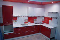 """Кухня """"Красный глянец"""". Купить угловую кухню Киев. Со склада. Акция!"""
