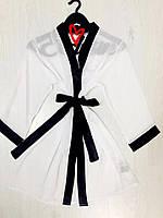 Белый шифоновый халат под пояс., фото 1