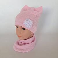 "Набор (шапка+слюнявчик) ""Киця"" розового цвета"