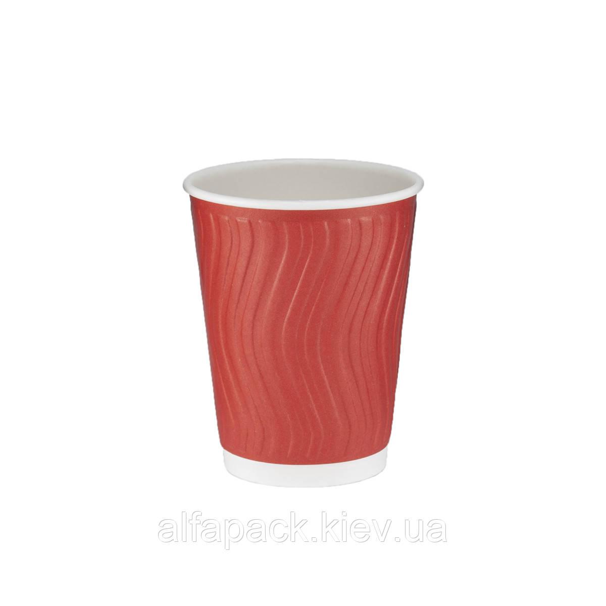 Гофрированный стакан волна красный 340 мл