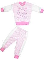 Пижама для девочки белая/розовая размер 86 92 98 104 110 116