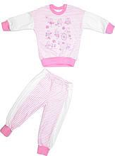 Пижама для девочки розовая с белым 6размер 86 92 98 104 110