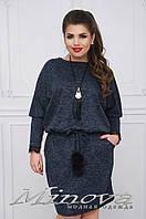 Платье женское из ангора украшено кружевом №1549-сине-серый, фото 1