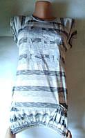 Детская- подростковая нарядная туника-платье для девочки Серая полосками с надписью