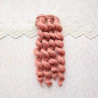 Волосы для кукол кудри в трессах, холодный розовый - 15 см