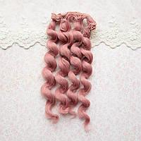 Волосы для кукол кудри в трессах, сливовый розовый - 15 см