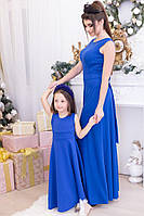 Платье длинное детское с бантом на спинке, синее