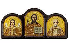 Набордля вышивания бисером Триптих настольный золото (Ангел Хранитель, Спаситель, Николай Чудотворец) СЕ6003