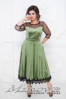 Платье женское.Ткань велюр, украшено сеткой и кружевом №472-зеленый