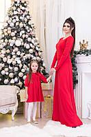 Детское красное платье с трехчетвертным рукавом
