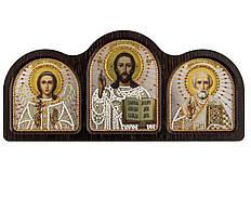 Набордля вышивания бисером Триптих настольный серебро (Ангел Хранитель, Спаситель, Николай Чудотворец) СЕ6004