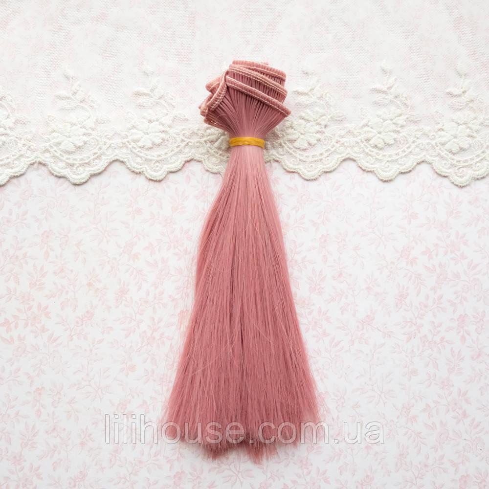 Волосы для кукол в трессах, холодный розовый - 15 см