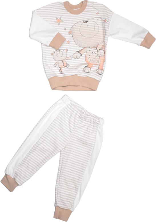 Пижама для мальчика бежевая размер 86