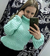 Женский вязанный свитер крупная вязка шерсть+акрил ,новинка 2017,Турция