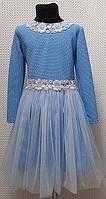 Красивое детское платье голубое ОПТОМ от производителя