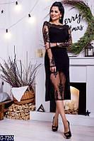 Женское платье кружевом черное