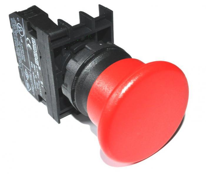 Кнопка «Грибок» без фиксации (1НО) красная B100MK