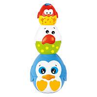 Детская игрушка Пирамидка-матрешка птенцы с синей птичкой, BeBeLino