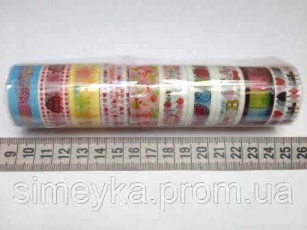 Скотч декоративный 1,5 см с рисунком для рукоделия, упаковка 10 мотков по 2,75 м разных расцветок