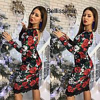 Женское красивое платье из цветного бархата и кружевом