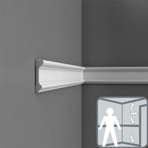Плинтус, дверное обрамление, карниз, молдинг DX121-2300,  230 x 9.4 x 2.3 cm