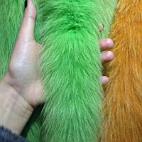 Мех на капюшон пуховика, куртки из хвостиков песца салатовый 60 см