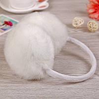 Женские наушники белый мех кролика
