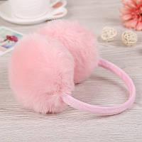 Меховые наушники розовые кролик