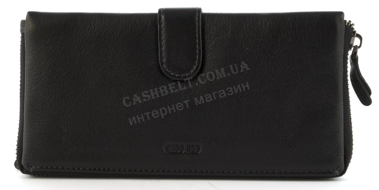 Чоловіча стильна міцна барсетка гаманець з натуральної високоякісної шкіри GEO COMP art. G-150B чорний