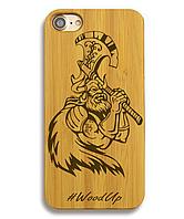 Деревянный чехол на Iphone 7 plus с лазерной гравировкой Викинг-4