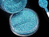 Голографический глиттер, блестки 0,2 мм, голубой, баночка, фото 1