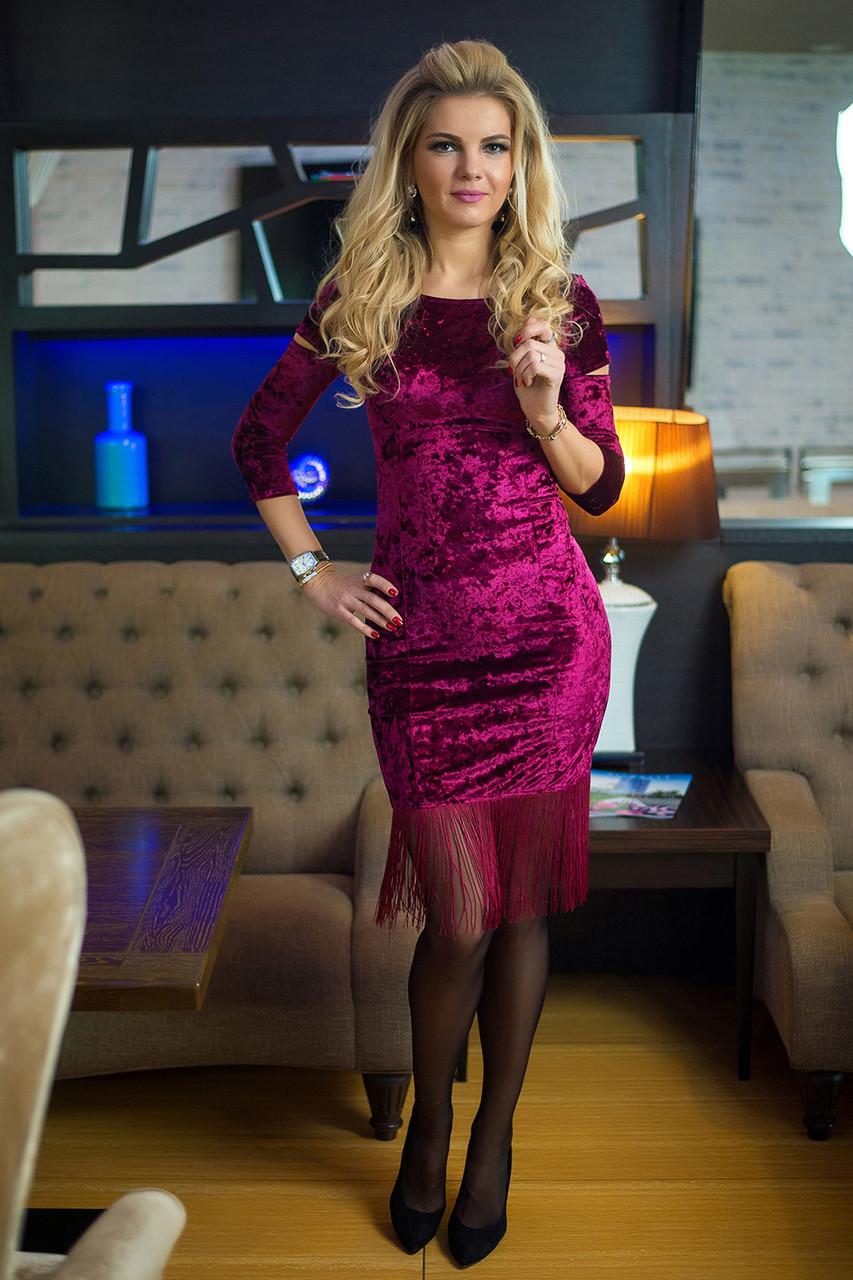 Вечернее Платье бордовый велюр