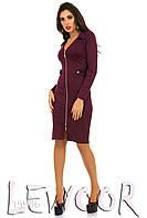 Трикотажное платье на молнии с декольте, фото 1