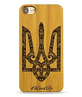 Деревянный чехол на Iphone 7 plus с лазерной гравировкой Герб