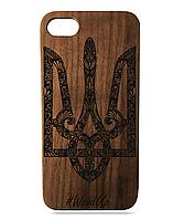 Деревянный чехол на Iphone 7 plus с лазерной гравировкой Герб Орех