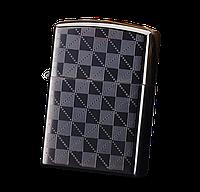 Электроимпульсная USB зажигалка WEXT Classic чёрная шахматная сетка