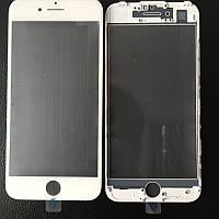 Стекло для iPhone 7 Plus, белое, с рамкой, с OCA-пленкой