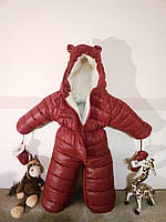 "Зимний детский комбинезон-трансформер ""Мышонок"" на овчинке вишня, фото 1"