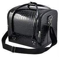 """Черная сумка для мастера """"крокодил"""" с пластиковыми полочками"""