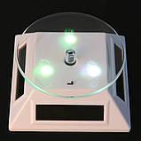 Демонстраційний обертовий столик з підсвічуванням RGB на сонячній батареї білий, фото 2