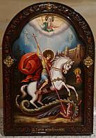 Икона писаная Георгий Победоносец в резном киоте