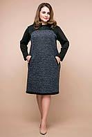 Теплое платье из букле Вива серое