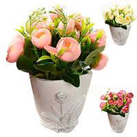 """Композиция из искусственных цветов """"Розы в мешочке"""" 20*18см"""