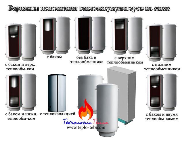 Варианты исполнения теплоаккумуляторов под заказ