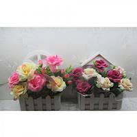 """Композиция из искусственных цветов """"Розы на окне"""" 21*12*21см"""