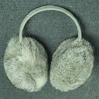 Теплые наушники серый мех кролика