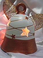 Светильник Керамическое изделие из глины ручной работы КОЛОКОЛЬЧИК Размер: 12х10 см.