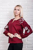 Современная женская вышиванка из льна с оригинальным узором, бордовая